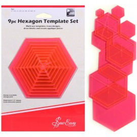 Set 9 Plantillas Hexagonales para Patchwork
